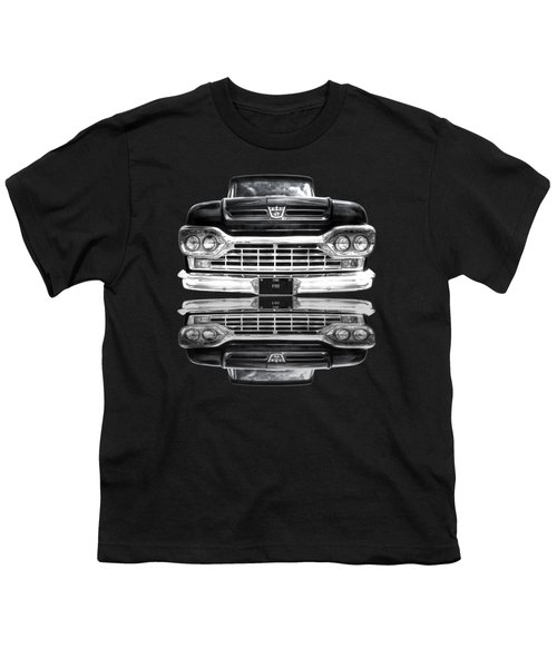 Ford F100 Truck Reflection On Black Youth T-Shirt