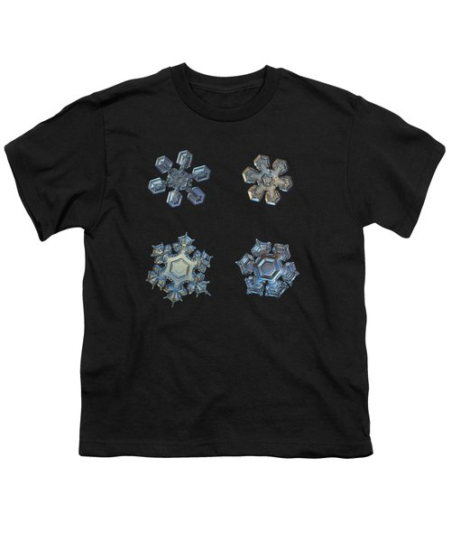 Four Snowflakes On Black 2 Youth T-Shirt