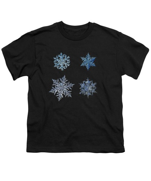 Four Snowflakes On Black Background Youth T-Shirt by Alexey Kljatov