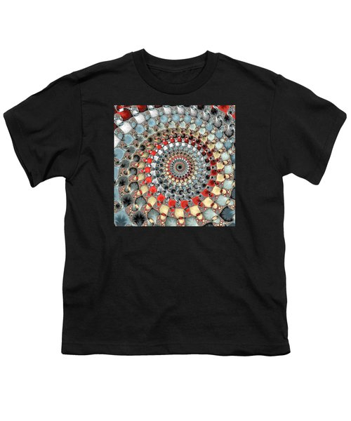 Fractal Spiral Red Grey Light Blue Square Format Youth T-Shirt