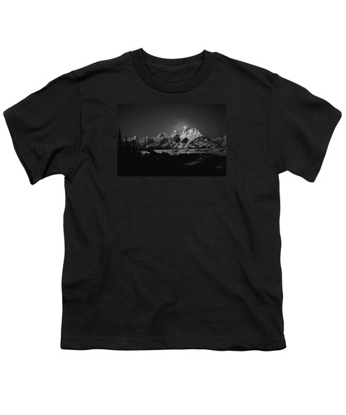 Full Moon Sets In The Tetons Youth T-Shirt