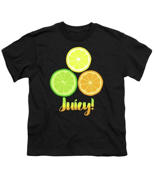 Fun Juicy Orange Lime Lemon Citrus Art Youth T-Shirt by Tina Lavoie