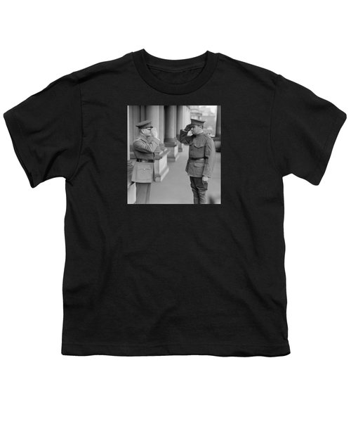 General John Pershing Saluting Babe Ruth Youth T-Shirt by War Is Hell Store