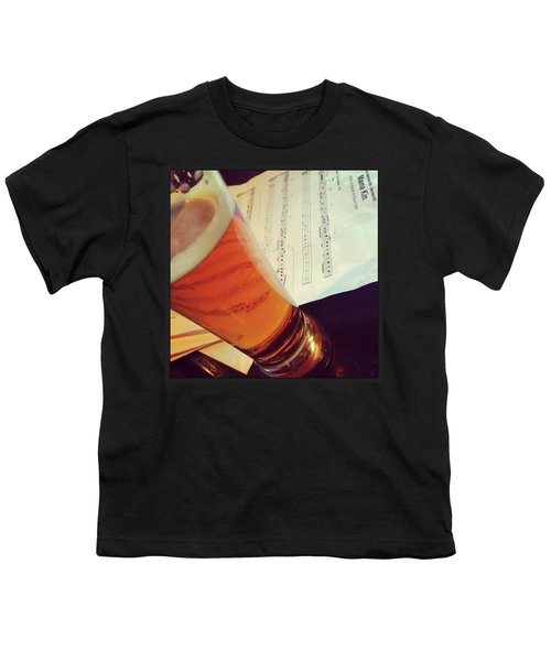 Glass Of Beer And Music Notes Youth T-Shirt