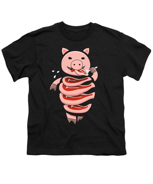 Gluttonous Self-eating Pig Youth T-Shirt by Boriana Giormova