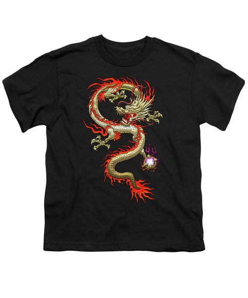 Golden Chinese Dragon Fucanglong On Black Silk Youth T-Shirt by Serge Averbukh
