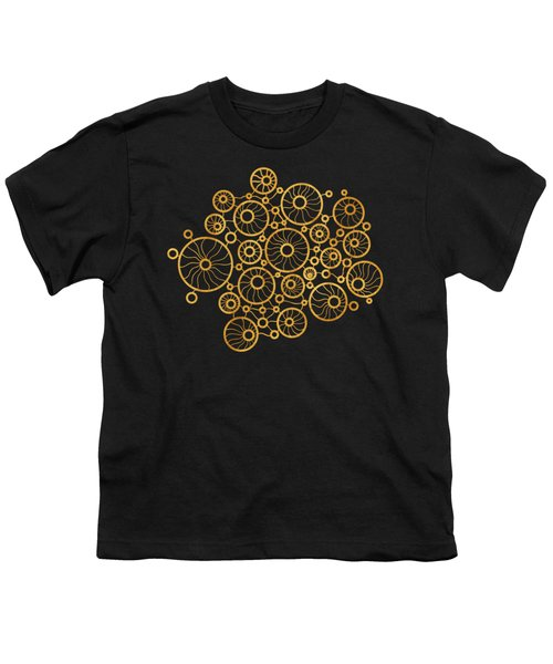 Golden Circles Black Youth T-Shirt by Frank Tschakert
