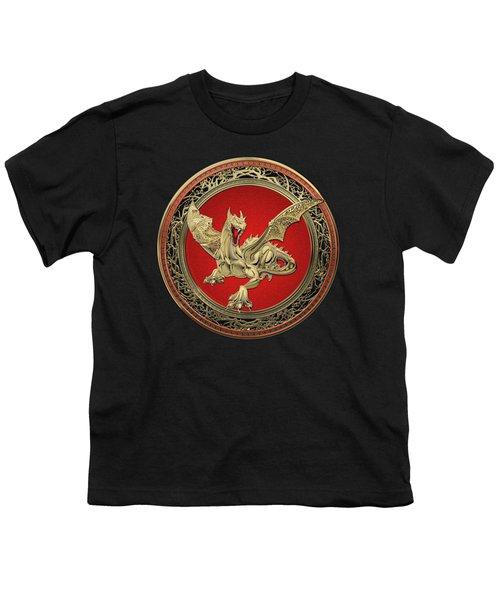 Golden Guardian Dragon Over Black Velvet Youth T-Shirt