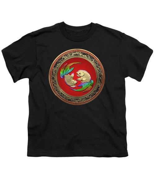 Golden Japanese Koi Goldfish Over Black Velvet Youth T-Shirt
