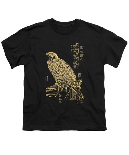 Golden Japanese Peregrine Falcon On Black Canvas  Youth T-Shirt
