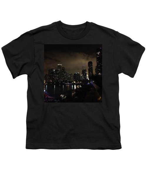 Chicago Skyline By Night Youth T-Shirt by Chantal Mantovani
