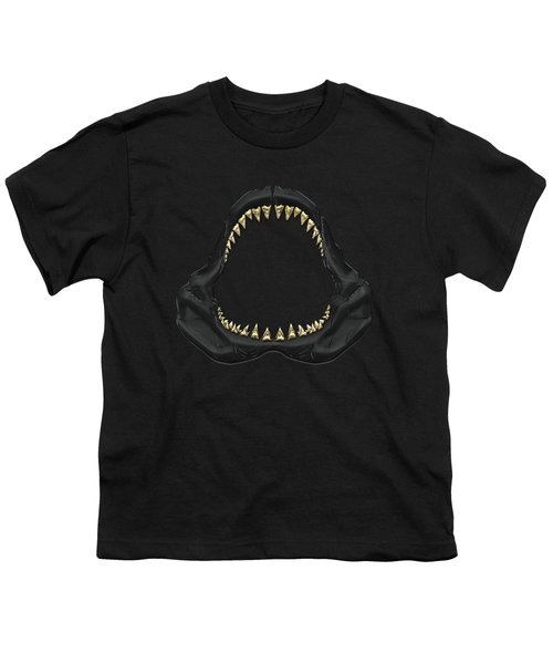 Great White Shark - Black Jaws With Gold Teeth On Black Canvas Youth T-Shirt