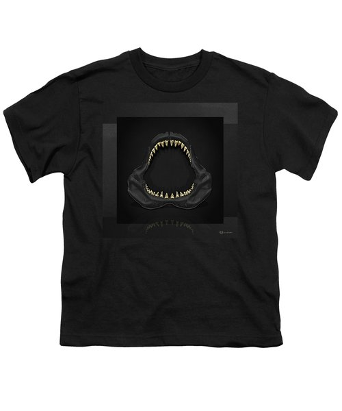 Great White Shark Jaws With Gold Teeth  Youth T-Shirt by Serge Averbukh