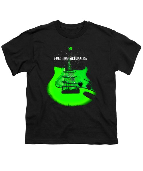 Youth T-Shirt featuring the photograph Green Guitar Full Time Occupation by Guitar Wacky