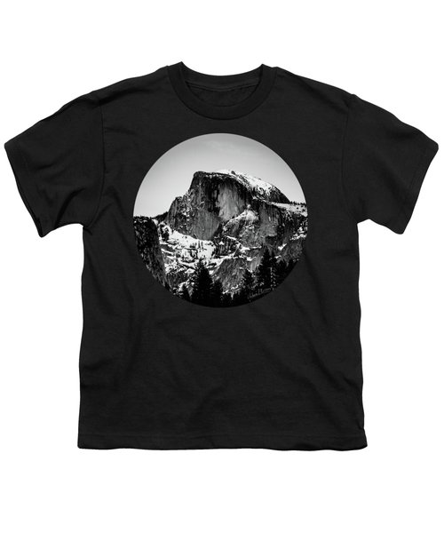 Half Dome Aglow, Black And White Youth T-Shirt