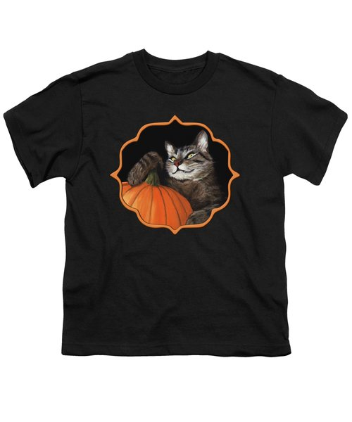 Youth T-Shirt featuring the painting Halloween Cat by Anastasiya Malakhova