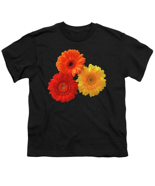 Happiness - Orange Red And Yellow Gerbera On Black Youth T-Shirt by Gill Billington