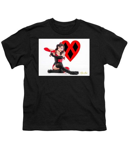 Harley Quinn Ready To Swing Youth T-Shirt by Rikk Flohr