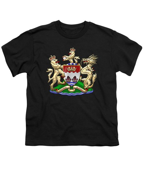 Hong Kong - 1959-1997 Coat Of Arms Over Black Leather  Youth T-Shirt by Serge Averbukh