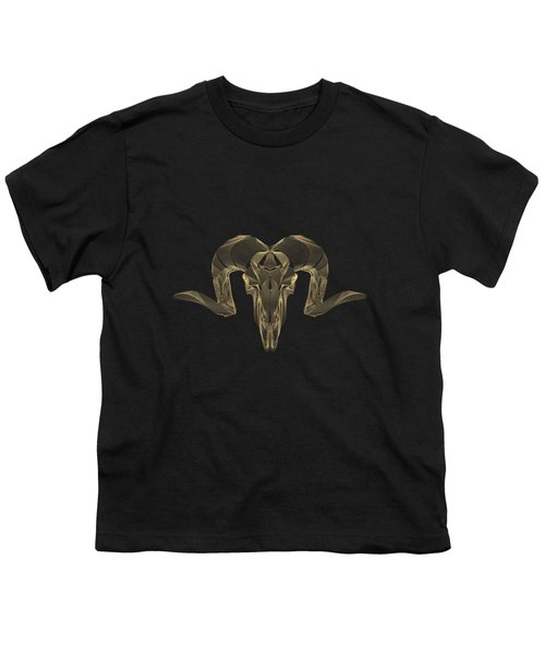 Horned Skulls - Gold Ram Skull X-ray Over Black Canvas No.1 Youth T-Shirt