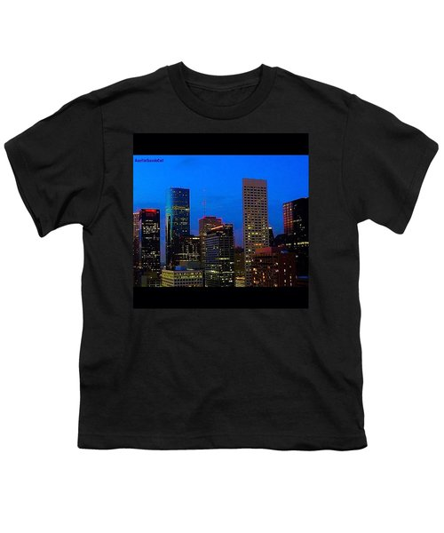 #houston #skyline At #night. #lights Youth T-Shirt by Austin Tuxedo Cat
