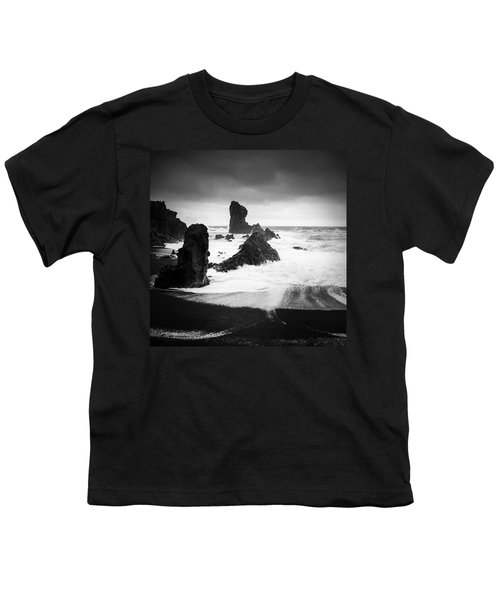 Iceland Dritvik Beach And Cliffs Dramatic Black And White Youth T-Shirt