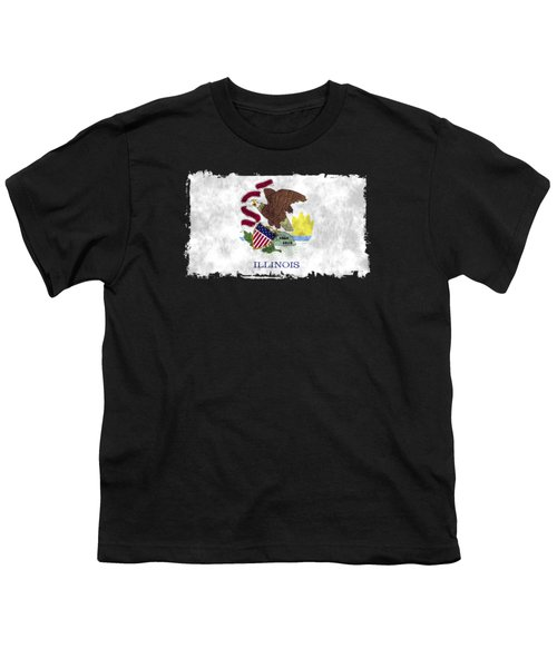 Illinois Flag Youth T-Shirt by World Art Prints And Designs