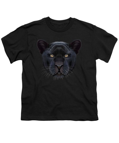 Illustrated Portrait Of Black Panther.  Youth T-Shirt