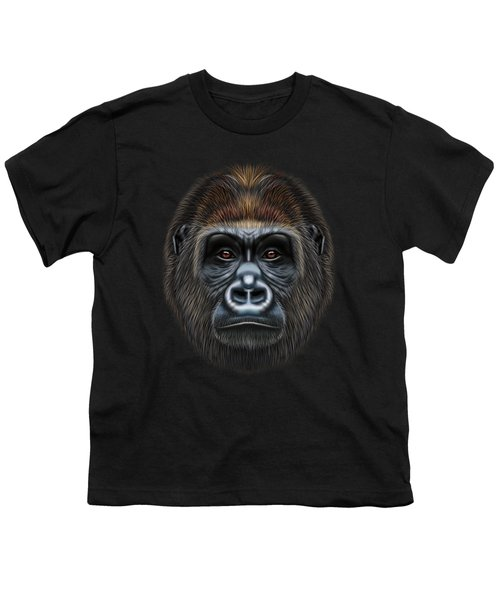 Illustrated Portrait Of Gorilla Male. Youth T-Shirt by Altay Savrukov