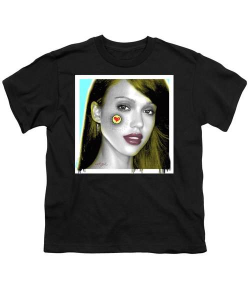 Jessica Alba Pop Art, Portrait, Contemporary Art On Canvas, Famous Celebrities Youth T-Shirt