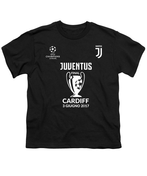 Juventus Final Champions League Cardiff 2017 Youth T-Shirt by Ipoy Juki