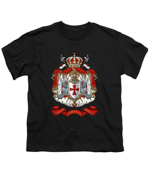 Knights Templar - Coat Of Arms Over Black Velvet Youth T-Shirt by Serge Averbukh