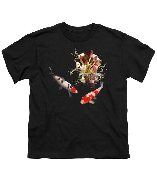 Koi With Honeysuckle Reflections Square Youth T-Shirt