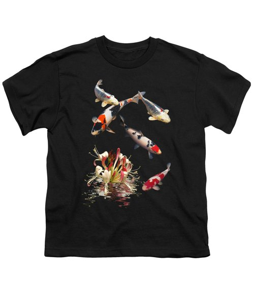 Koi With Honeysuckle Reflections Vertical Youth T-Shirt