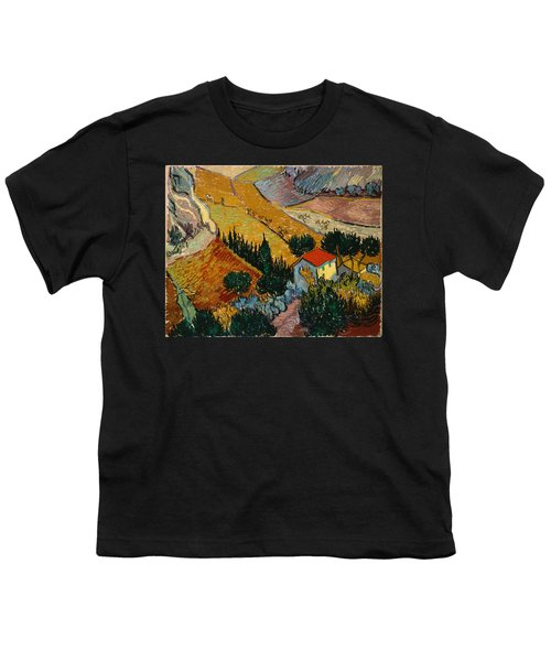 Youth T-Shirt featuring the painting Landscape With House And Ploughman by Van Gogh