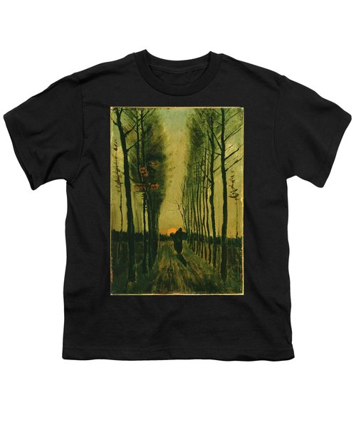 Youth T-Shirt featuring the painting Lane Of Poplars At Sunset by Van Gogh