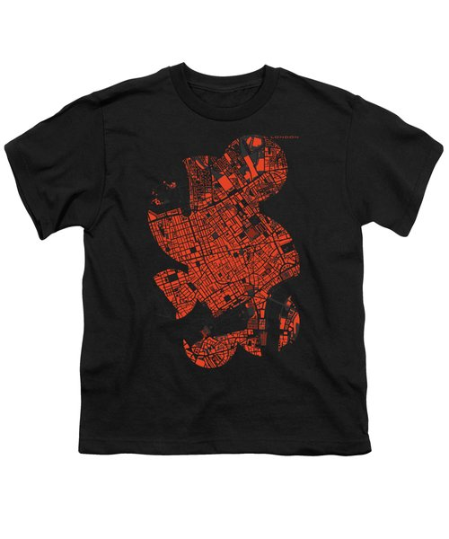 London Engraving Map Youth T-Shirt by Jasone Ayerbe- Javier R Recco