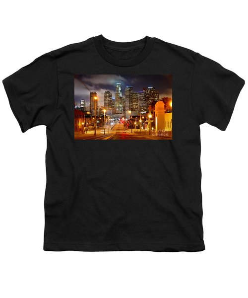 Los Angeles Skyline Night From The East Youth T-Shirt by Jon Holiday