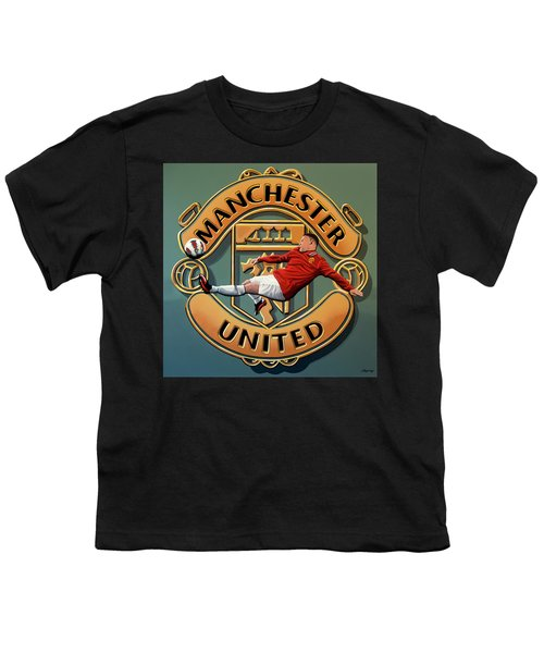Manchester United Painting Youth T-Shirt by Paul Meijering