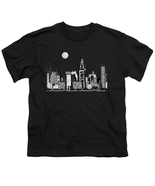 Manhattan At Night New York Swings Youth T-Shirt by Cecely Bloom