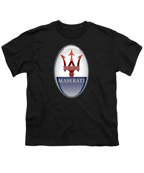 Maserati - 3d Badge On Black Youth T-Shirt by Serge Averbukh