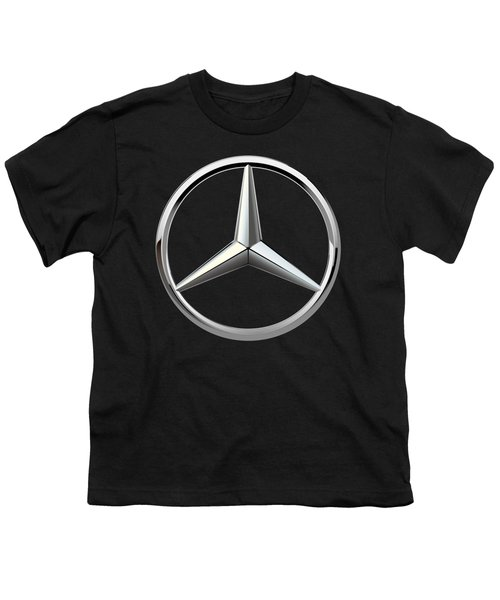 Mercedes-benz - 3d Badge On Black Youth T-Shirt by Serge Averbukh