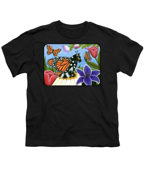 Monarch Butterfly Fairy Cat Youth T-Shirt