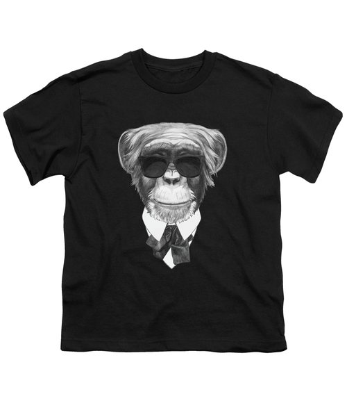 Monkey In Black Youth T-Shirt by Marco Sousa