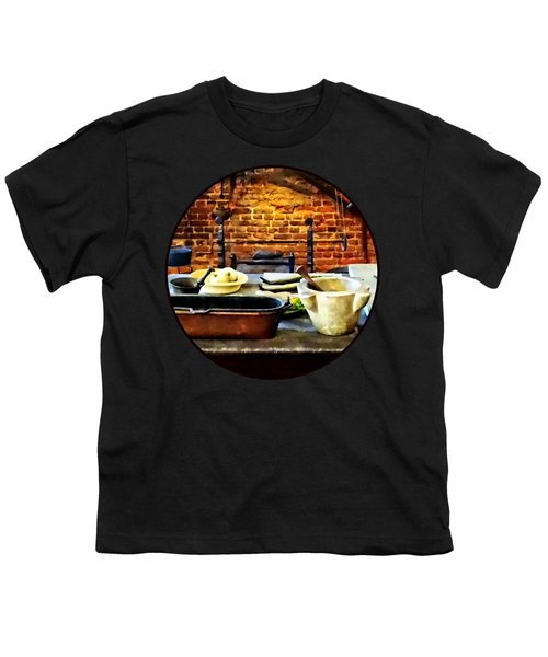 Mortar And Pestles In Colonial Kitchen Youth T-Shirt by Susan Savad