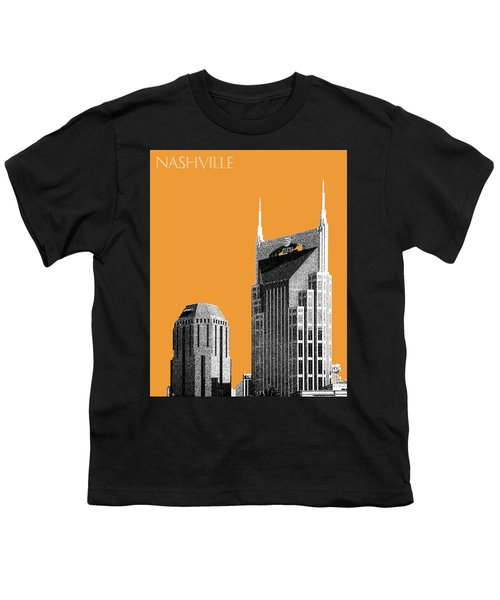 Nashville Skyline At And T Batman Building - Orange Youth T-Shirt by DB Artist