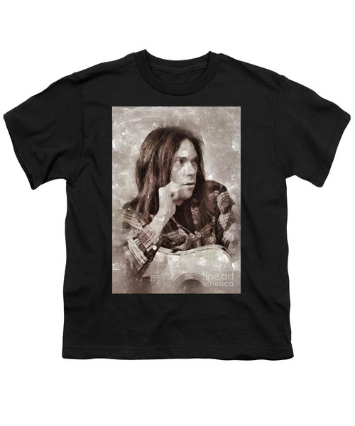 Neil Young By Mary Bassett Youth T-Shirt