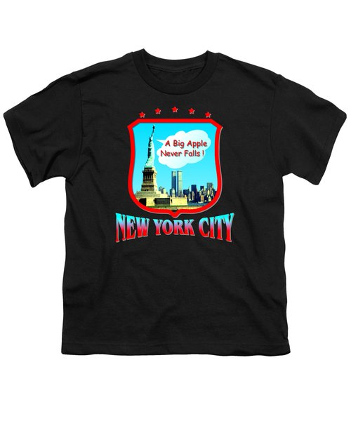 New York City Big Apple - Tshirt Design Youth T-Shirt by Art America Gallery Peter Potter