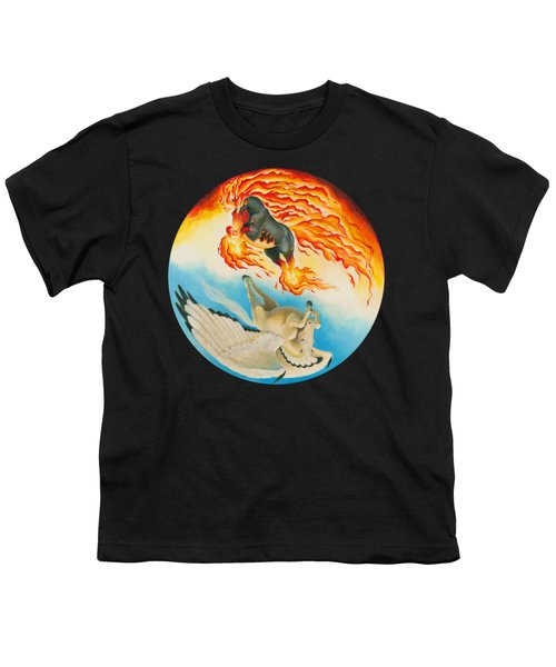 Nightmare And Mesa Pegasus Yin Yang Youth T-Shirt by Melissa A Benson