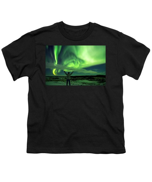 Northern Light In Western Iceland Youth T-Shirt by Dubi Roman